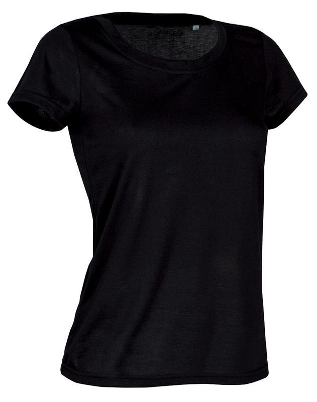 t-shirt con girocollo da donna in poliestere nero