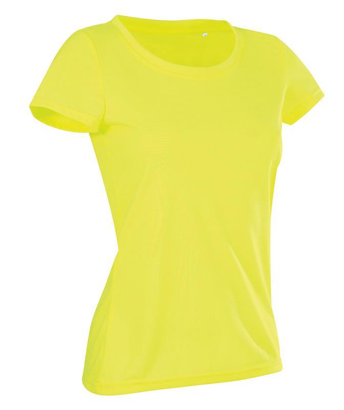 t-shirt con girocollo da donna in poliestere giallo
