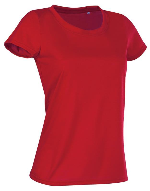 t-shirt con girocollo da donna in poliestere rosso