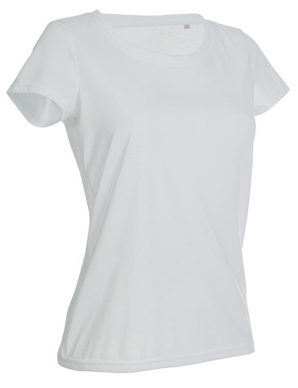 t-shirt con girocollo da donna in poliestere bianco