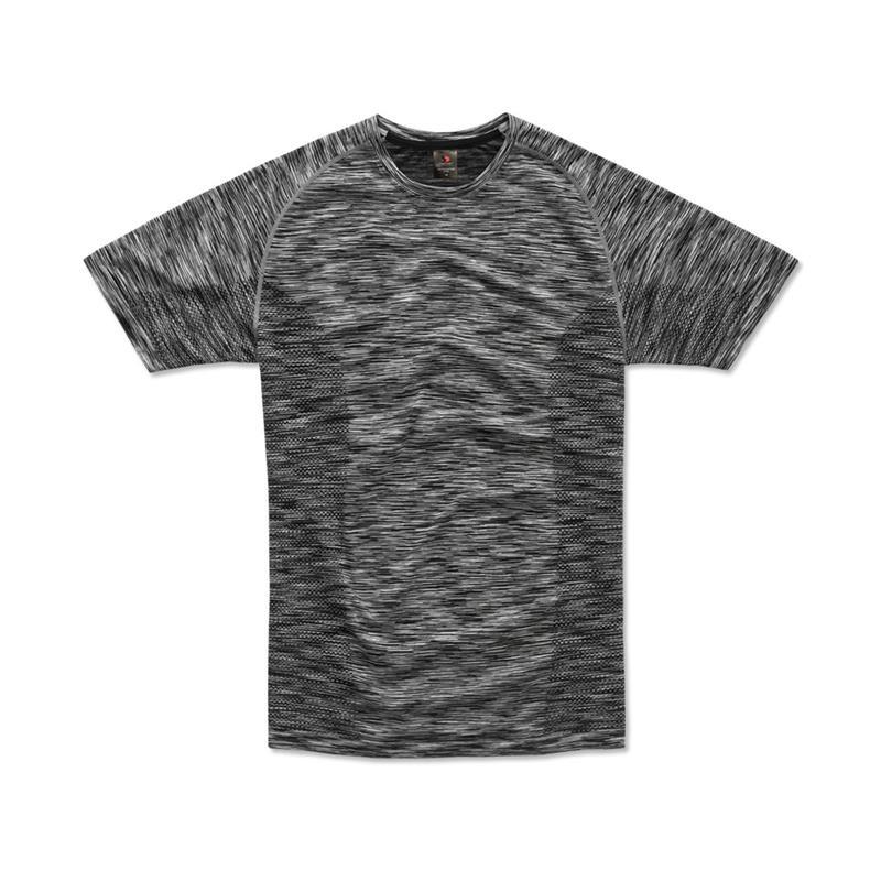 t-shirt da uomo in poliestere nero effetto melange