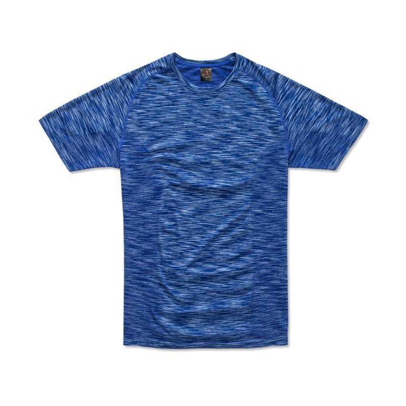 t-shirt da uomo in poliestere blu reale effetto melange