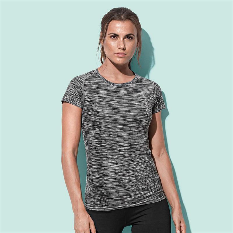 t-shirt da donna in poliestere nero effetto melange