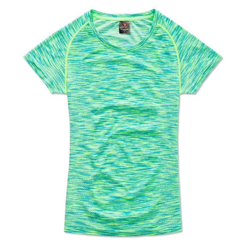 t-shirt da donna in poliestere kiwi effetto melange