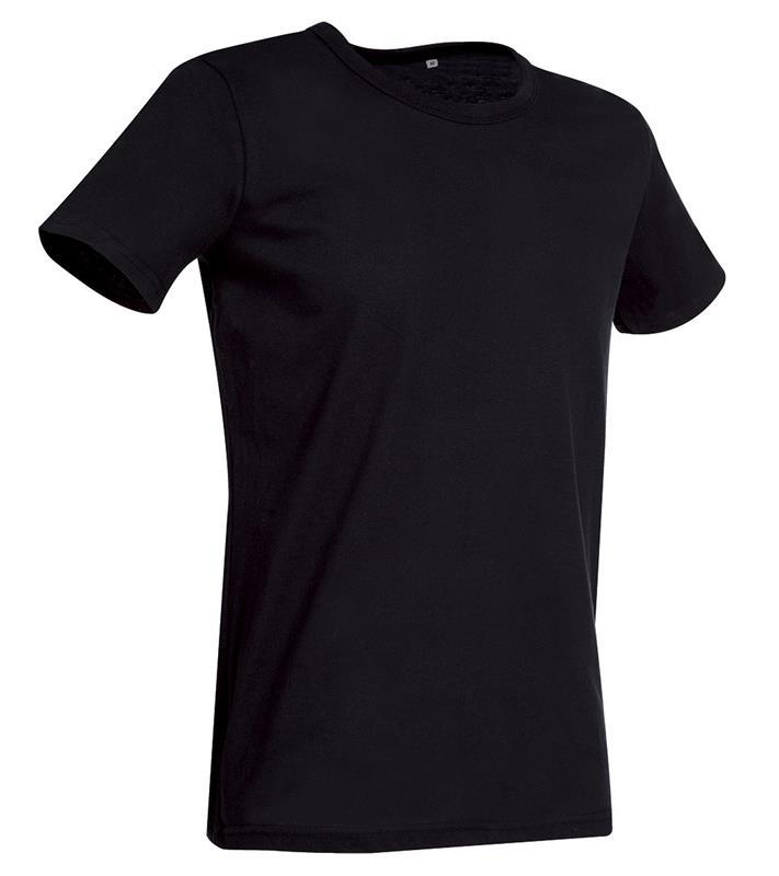 t-shirt da uomo in jersey nero con girocollo