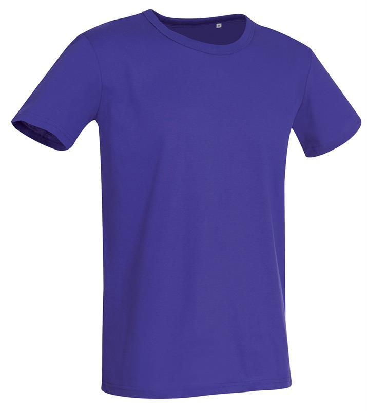 t-shirt da uomo in jersey viola con girocollo