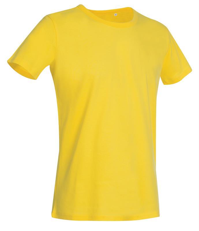 t-shirt da uomo in jersey giallo con girocollo