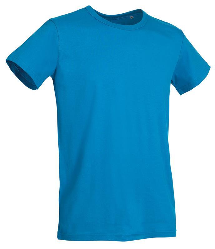 t-shirt da uomo in jersey blu chiaro con girocollo