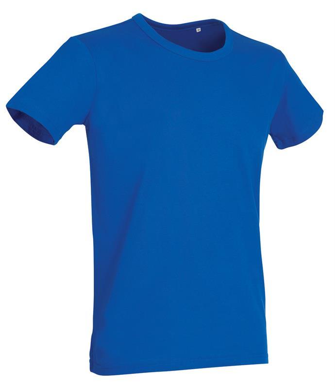 t-shirt da uomo in jersey blu reale con girocollo