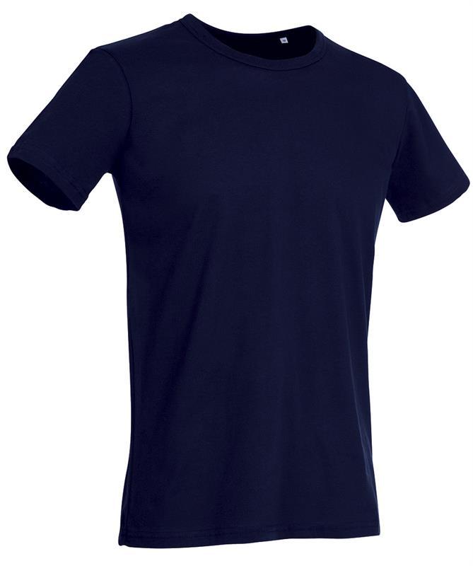t-shirt da uomo in jersey blu marino con girocollo