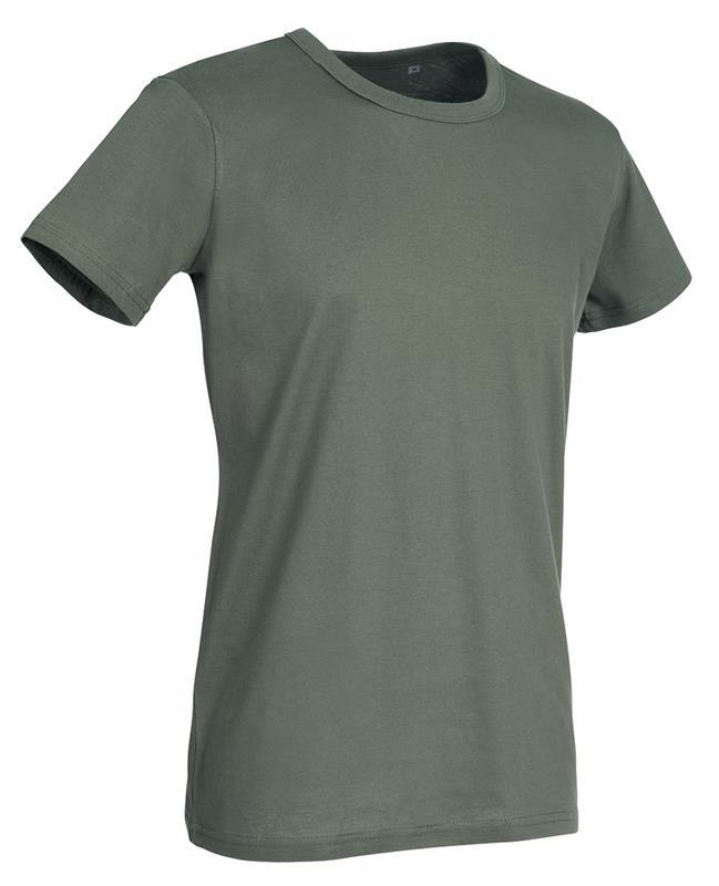 t-shirt da uomo in jersey verde militare con girocollo
