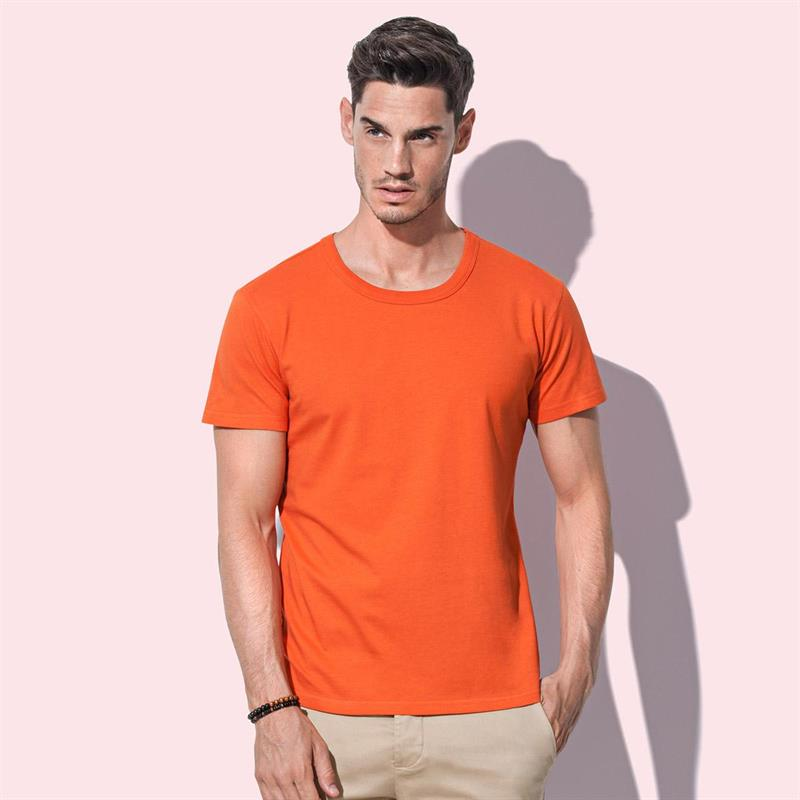 t-shirt da uomo in jersey arancio con girocollo