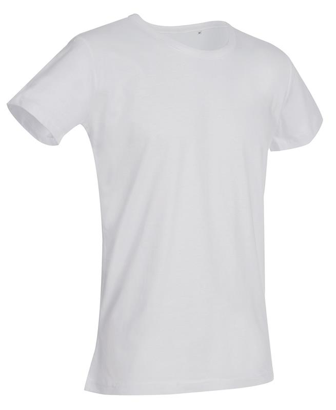 t-shirt da uomo in jersey bianco con girocollo
