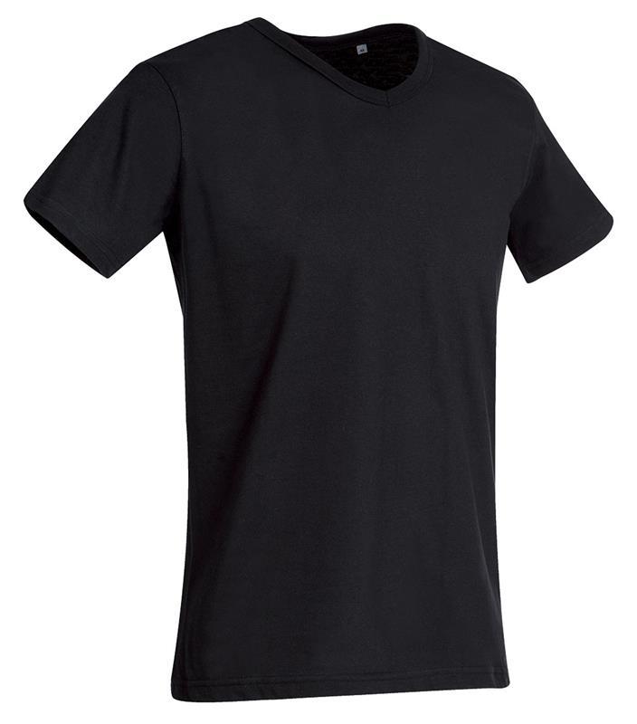 t-shirt da uomo in jersey nero collo a v