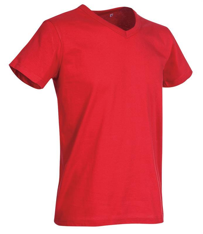 t-shirt da uomo in jersey rosso collo a v