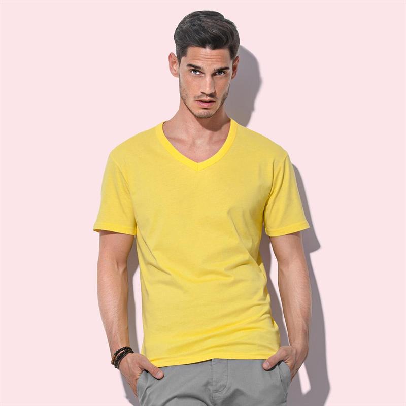 t-shirt da uomo in jersey giallo collo a v