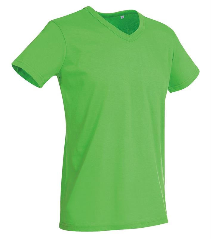 t-shirt da uomo in jersey verde collo a v