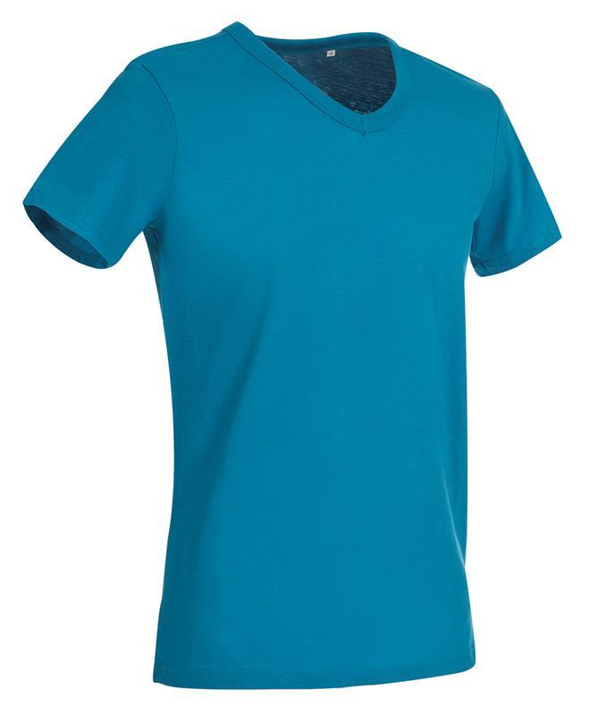 t-shirt da uomo in jersey blu chiaro collo a v