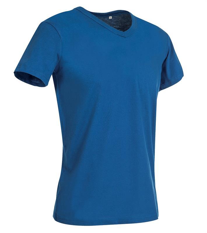 t-shirt da uomo in jersey blu reale collo a v