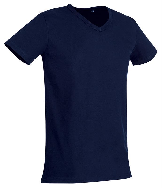 t-shirt da uomo in jersey blu marino collo a v
