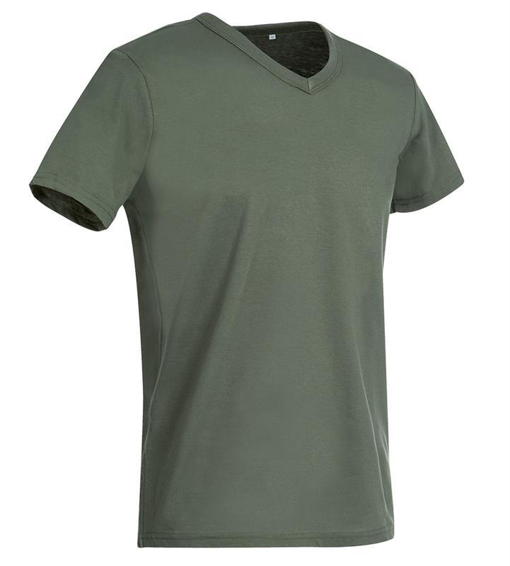 t-shirt da uomo in jersey verde militare collo a v