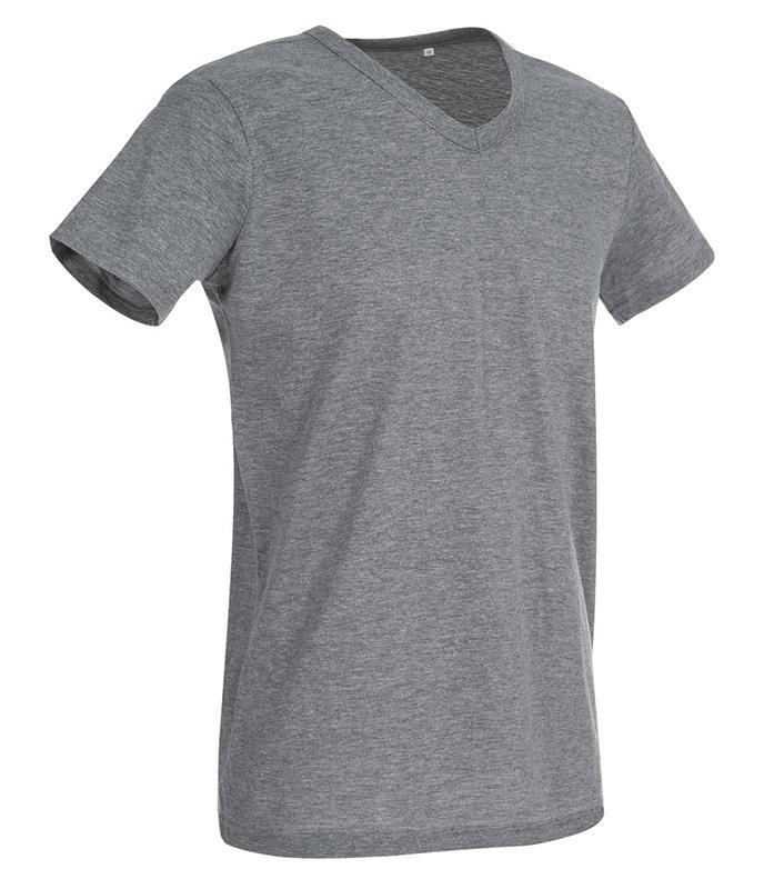 t-shirt da uomo in jersey grigio collo a v