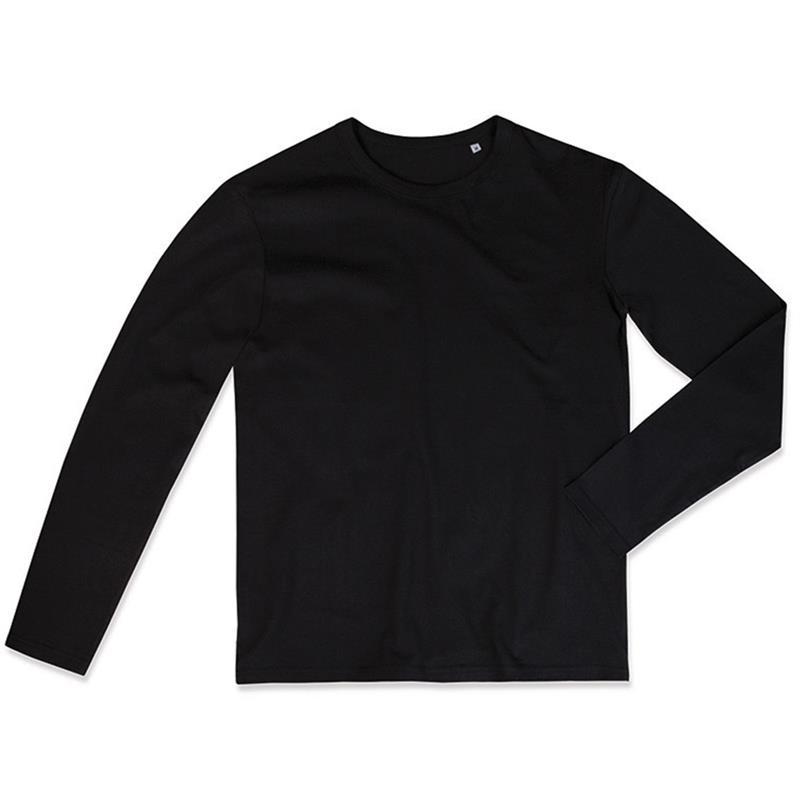 t-shirt da uomo in jersey nero girocollo e maniche lunghe
