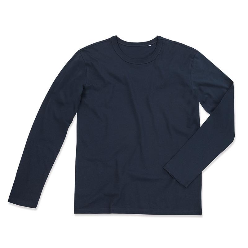 t-shirt da uomo in jersey blu marino girocollo e maniche lunghe