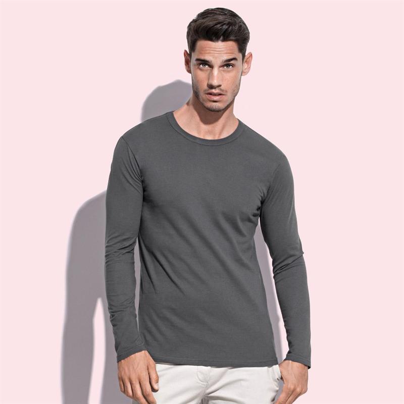 t-shirt da uomo in jersey grigio girocollo e maniche lunghe