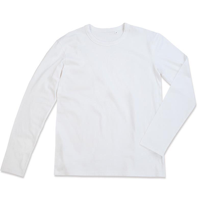 t-shirt da uomo in jersey bianco girocollo e maniche lunghe