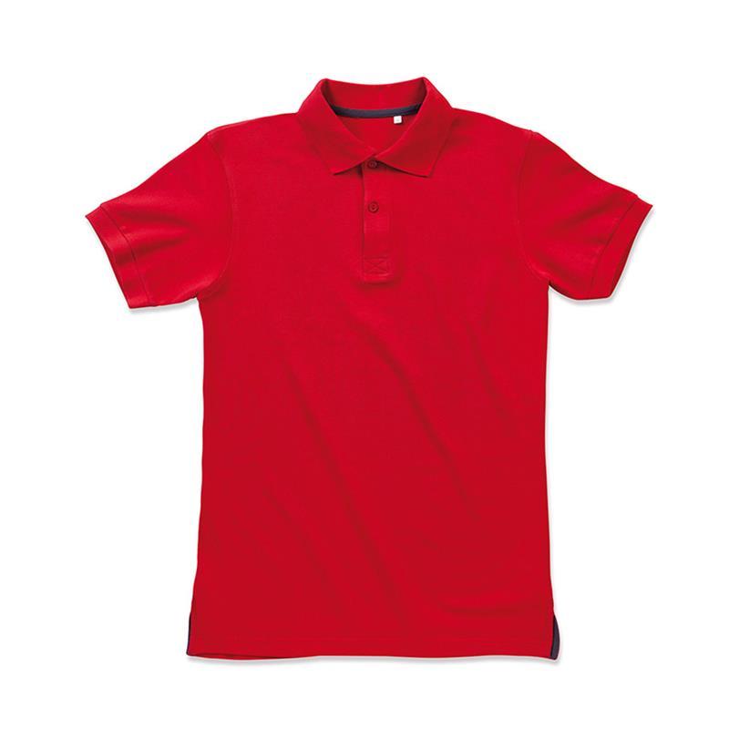 polo da uomo in piqué rosso con due bottoni tono su tono