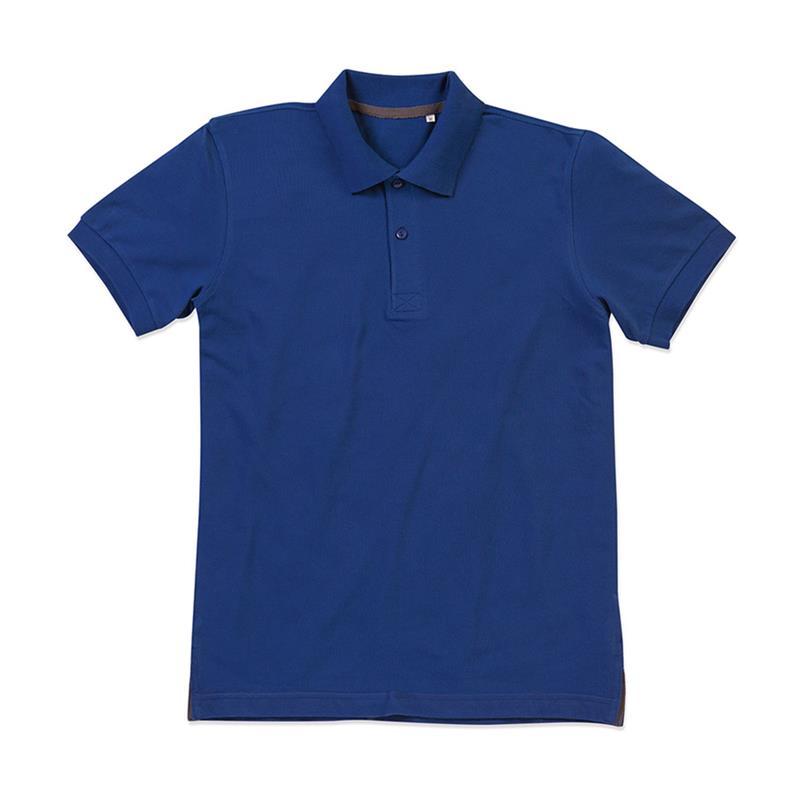 polo da uomo in piqué blu con due bottoni tono su tono