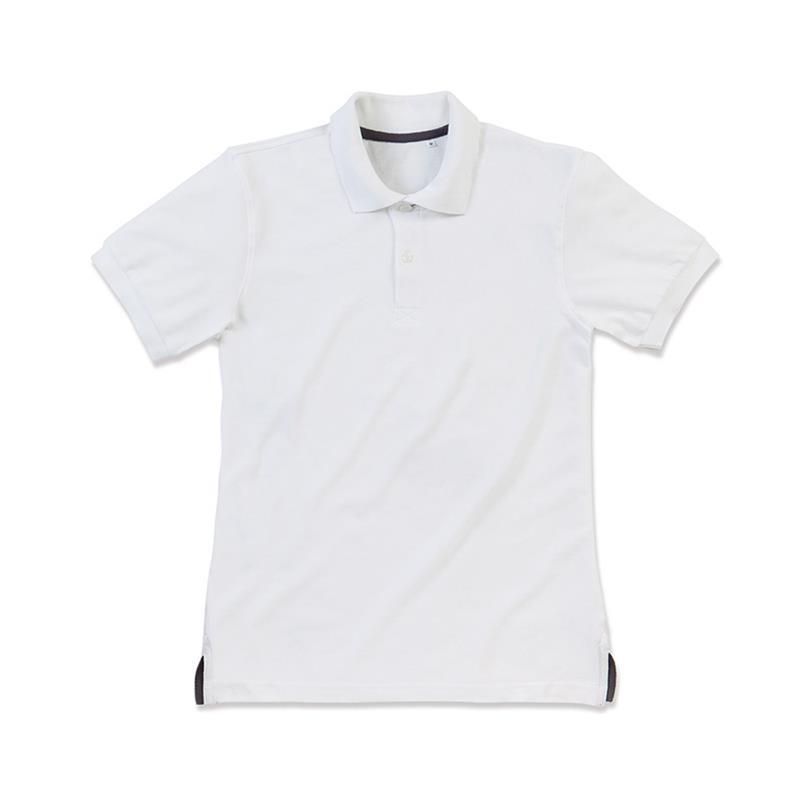 polo da uomo in piqué bianco con due bottoni tono su tono