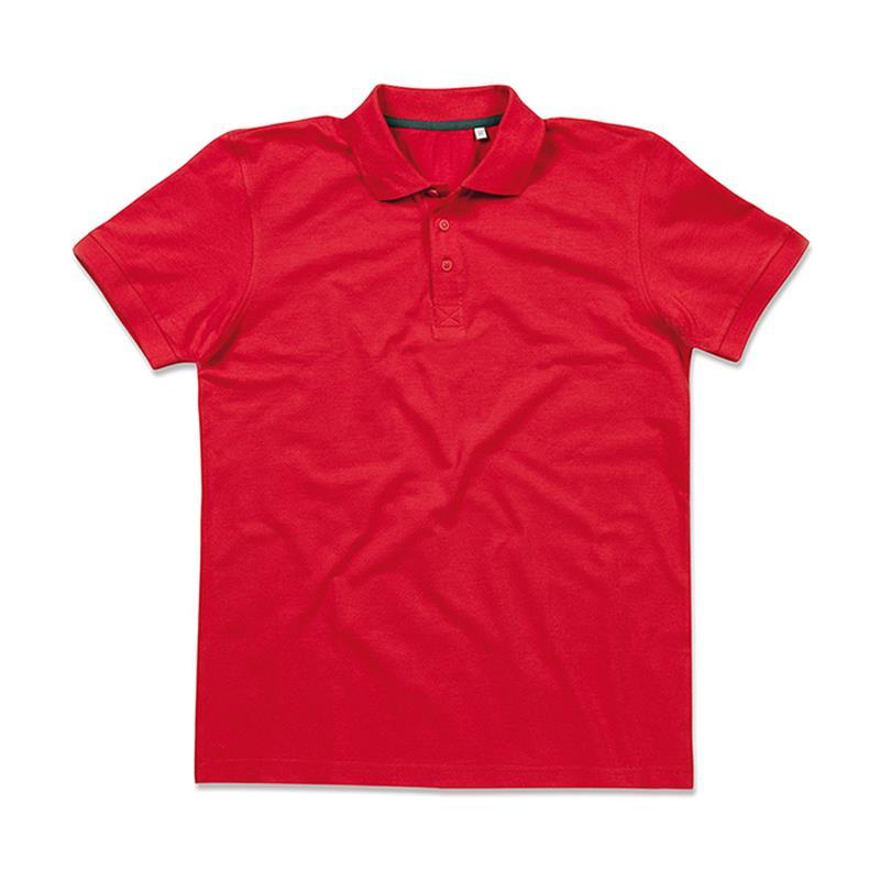 polo da uomo in piqué rosso con tre bottoni tono su tono