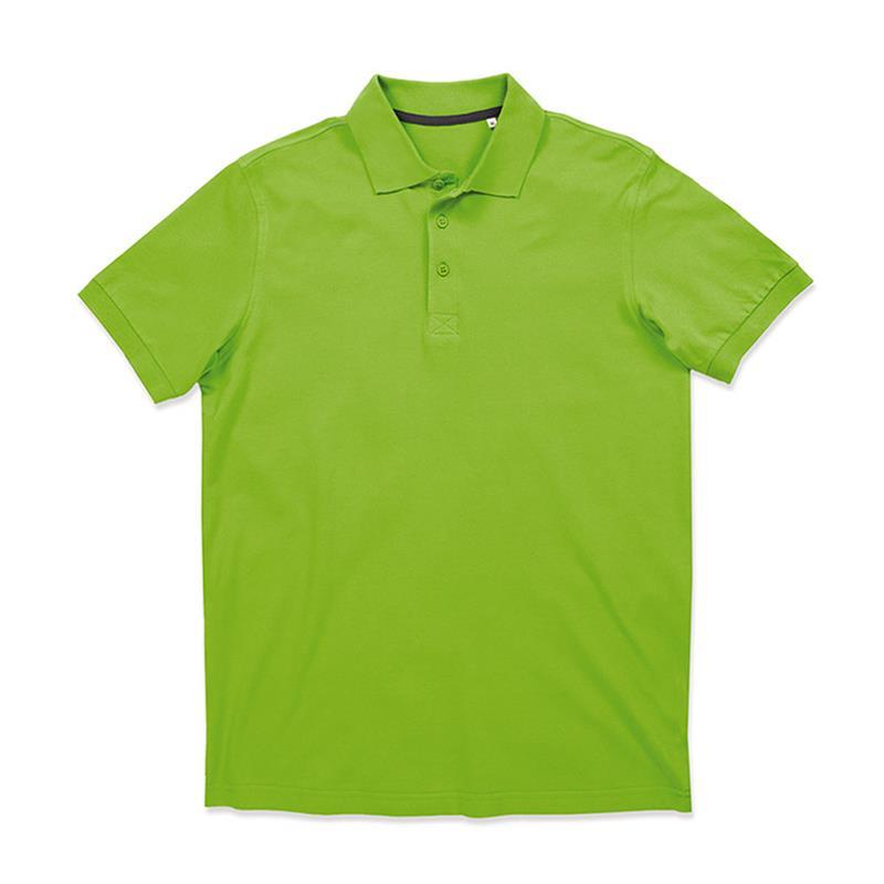 polo da uomo in piqué verde con tre bottoni tono su tono