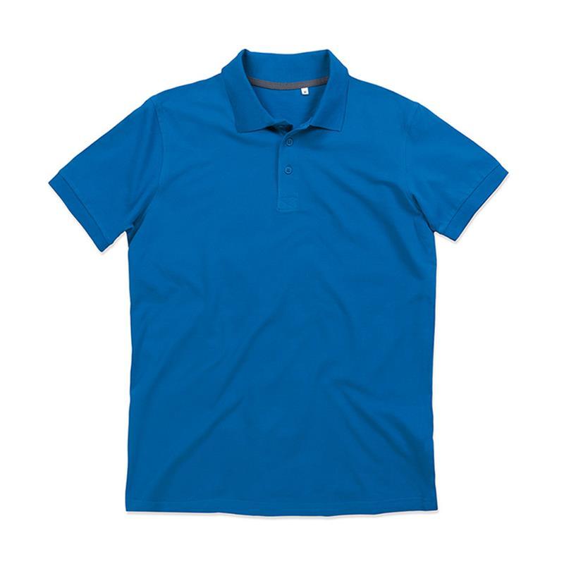 polo da uomo in piqué blu reale con tre bottoni tono su tono