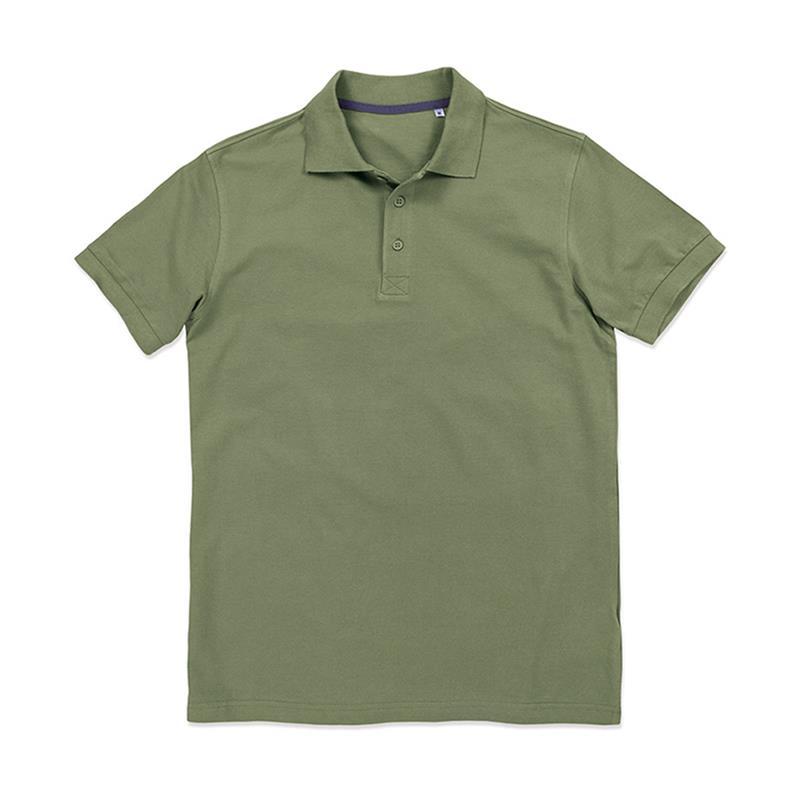 polo da uomo in piqué verde militare con tre bottoni tono su tono