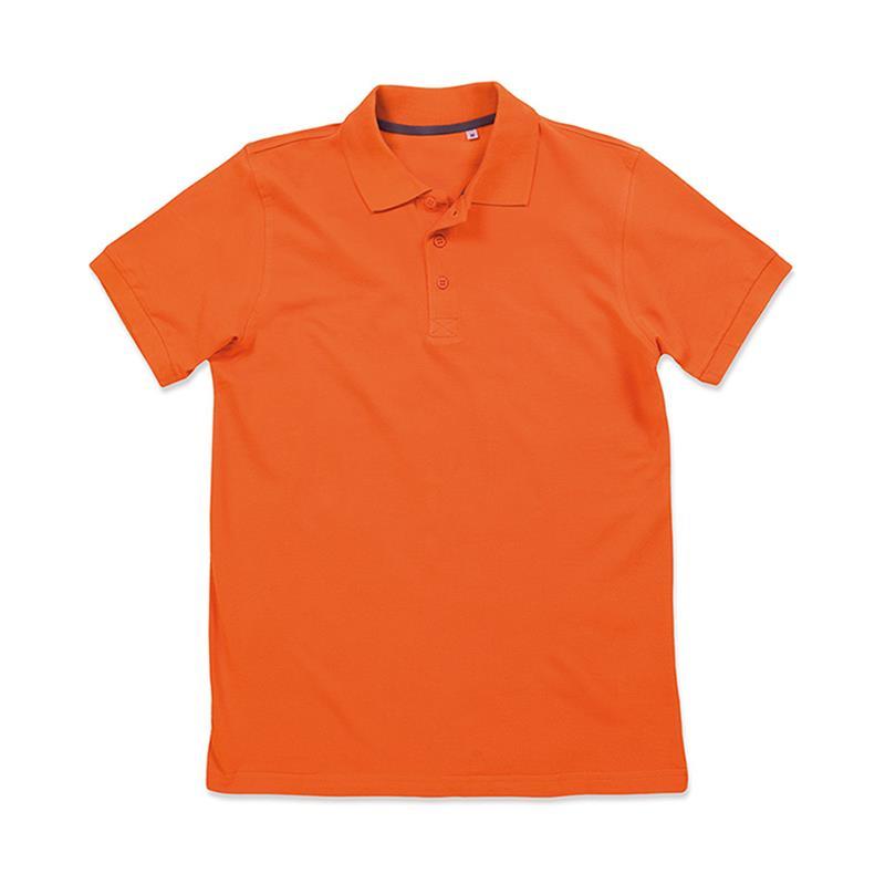 polo da uomo in piqué arancio con tre bottoni tono su tono
