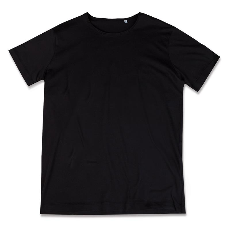 t-shirt da uomo in cotone nero filato ad anelli con girocollo