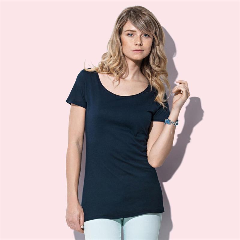 t-shirt da donna in cotone blu filato ad anelli con girocollo