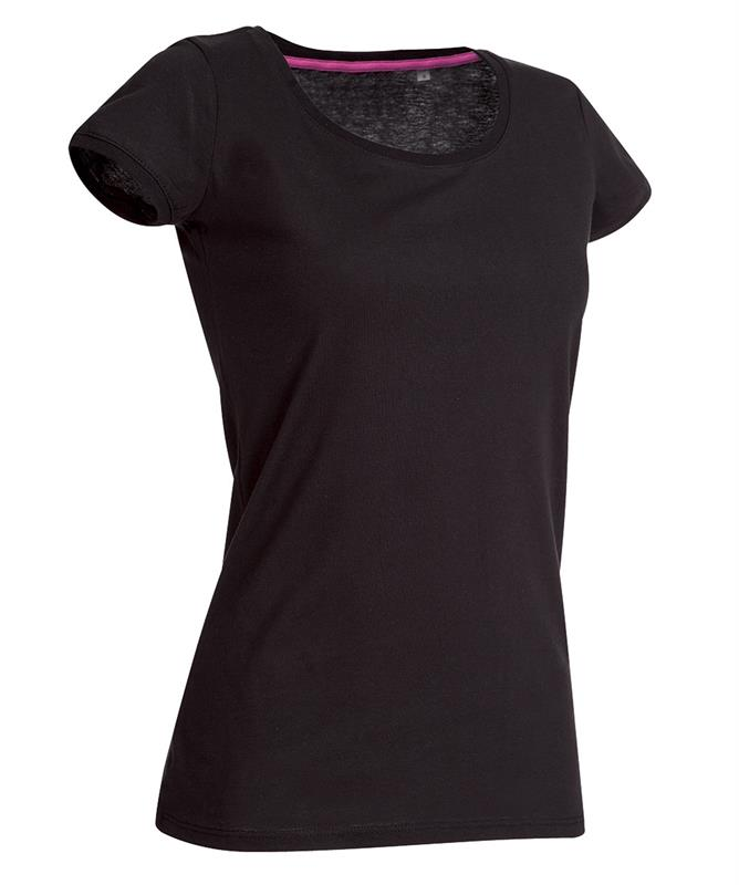 t-shirt da donna in jersey nero con girocollo