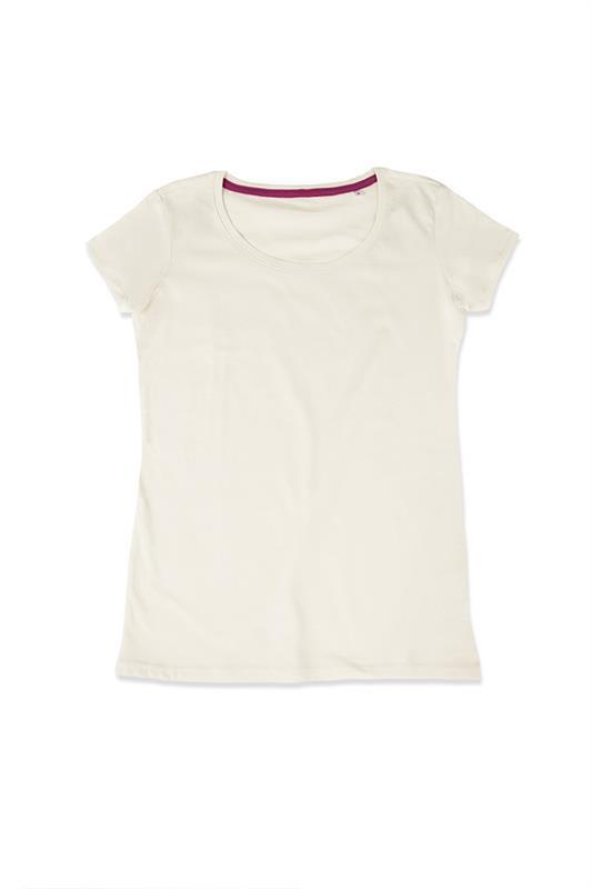 t-shirt da donna in jersey bianco crema con girocollo