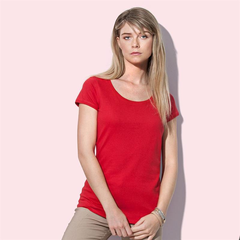 t-shirt da donna in jersey rosso con girocollo