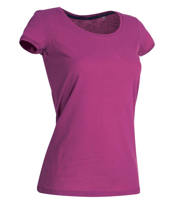 t-shirt da donna in jersey rosa con girocollo