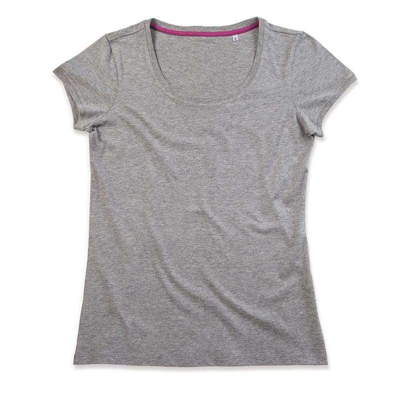 t-shirt da donna in jersey grigio con girocollo