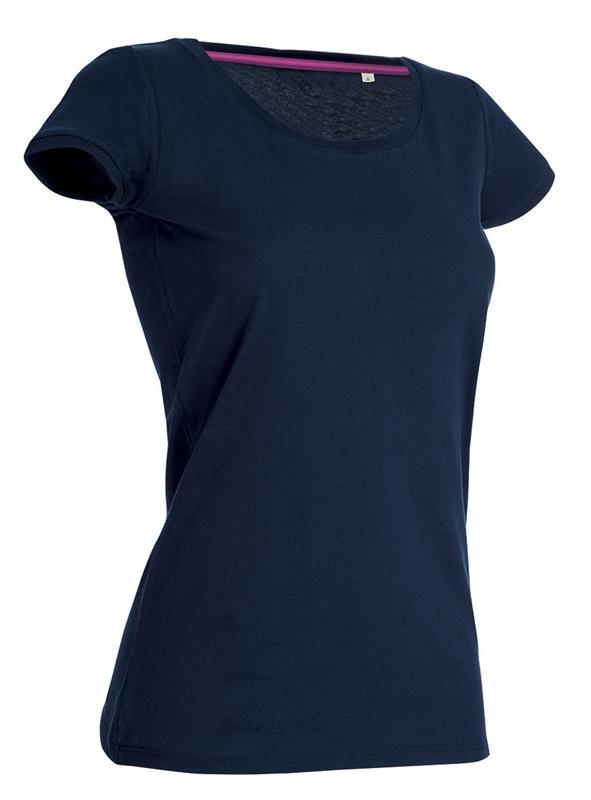 t-shirt da donna in jersey blu marino con girocollo