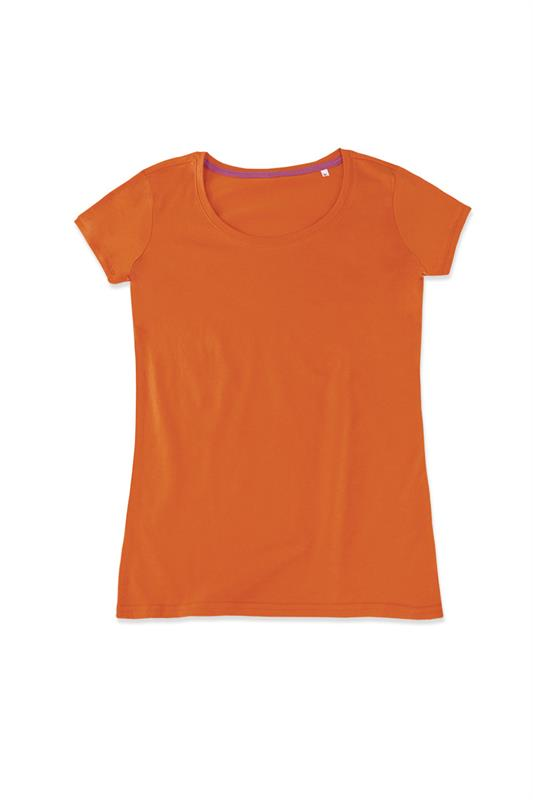 t-shirt da donna in jersey arancio con girocollo