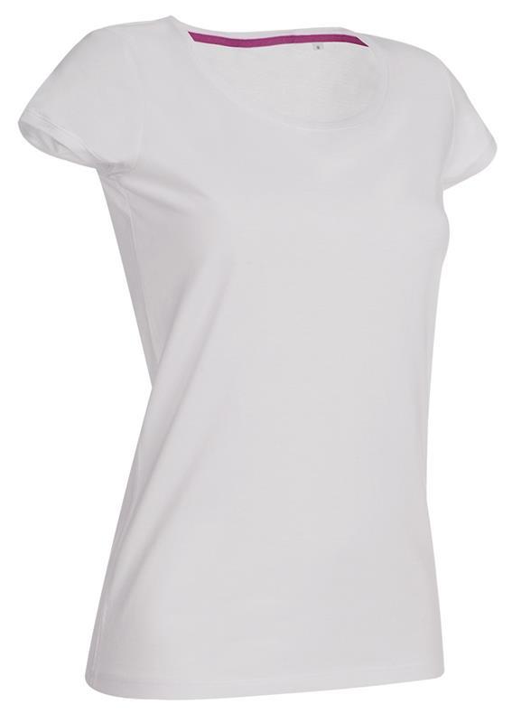 t-shirt da donna in jersey bianco con girocollo