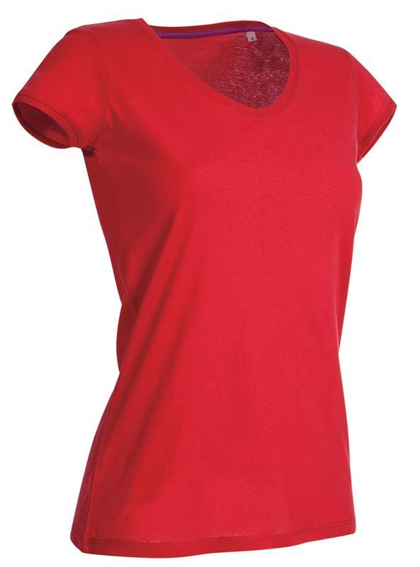 t-shirt da donna in jersey rosso collo a v