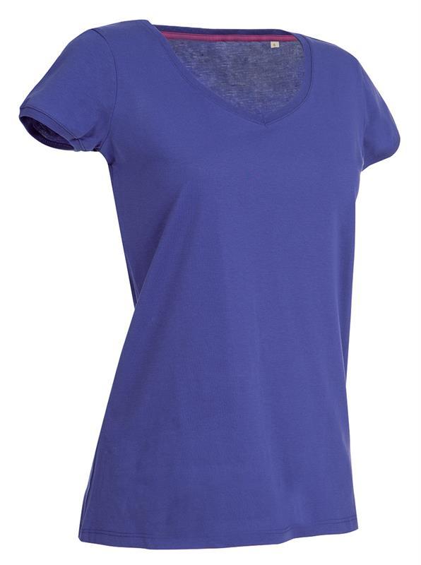t-shirt da donna in jersey viola collo a v